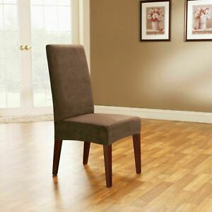 NIP Surefit Short Dining Room Chair Slipcover Stretch Pinstripe Brown Taupe