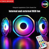 COOLMOON RGB 120mm Double Aura Silent PC Case Fans Cooler Fan w/Remote Control