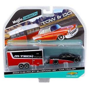Maisto 1:64 TOW & GO 2004 Chevrolet Silverado SS & Car Trailer Red Black 15368C
