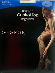 2 Pair Fashion Foral Vine Control Top Silky Sheer Pantyhose