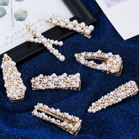 Newest Women Pearl Hair Clip Snap Barrette Stick Hairpin Bobby Hair Accessory