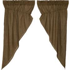 """Tea Cabin Plaid Prairie Curtains by VHC Brands - 63"""" x 36"""" Lined Curtain Set"""