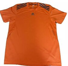Adidas Mens Climalite T Shirt L Orange Short Sleeve Performance T Grey Stripes