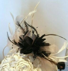 GOLD AND BLACK FASCINATOR ON BAND