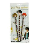 Harry Potter 3D KAWAII Pencil & Eraser Set Hermione Ron Brand New Gift Pack