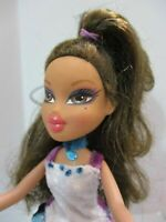 Bratz Doll Long dark brown hair LONG VELVETEEN dress & high heel shoes