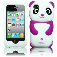 Cute Purple and White Panda 3D animal Soft Skin Case Cover for iPhone 4, 4S New