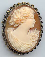 VINTAGE 10K GOLD ORNATE CARVED CAMEO PIN BROOCH OR PENDANT