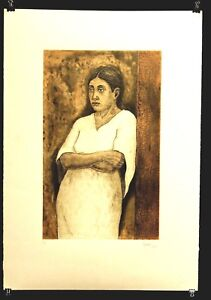 "Original Mexican Lithograph Hand Pulled Signed Fine Art ""Contemplating Woman"""