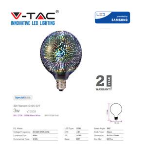 Decorative Filament LED 3W 3D Globe Bulb E27 G125 by V-TAC