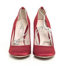 Miu Miu 5P6049 Red Almond Toe Silk Pump 6 36 NIB $510