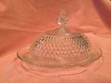 Indiana Glass Clear Diamond Point Oval Butter Dish & Cover