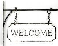 NEW Rustic Hanging Double-Sided WELCOME Embossed Black/White Enameled Metal Sign