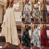 Oversized Women Long Sleeve V-Neck Printed Kaftan Casual Loose Long Maxi Dresses