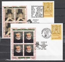 Romania, 2001 issue. 12/SEP/01. Composer G. Verdi Cancels on 2 Cachet Covers.