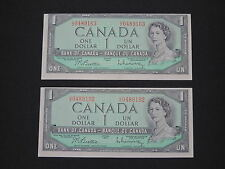 2x 1954 $1 DOLLAR BANK NOTE CANADA ERROR BILL CUT OUT OF SIZE UNC