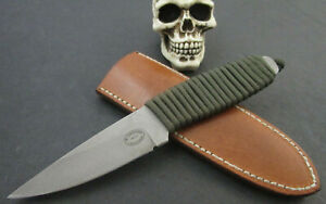 Custom Mike Sanders EDC Fighter Knife Handmade Cord Wrap Handle ATS34 Stainless