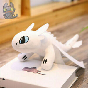 "14"" How To Train Your Dragon 3 Toothless Plush Doll Night/Light Toys Teddy White"