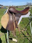 "Used Cortina 17"" close contact English saddle w/fittings, fleece pad, good cond"