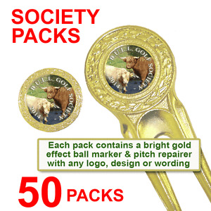 Best Impressions Printed Golf Society Pitch Repairer Gold Marker Different Packs