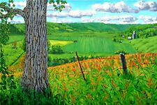 COTTONWOOD TREE FARM FIELDS PLEIN AIR MIDWEST ORIGINAL LANDSCAPE READY TO HANG