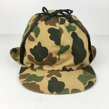 VTG 50s 60s Camouflage Hunting Hat Earflaps YOUTH SIZE Trapper Hat Camo Lined