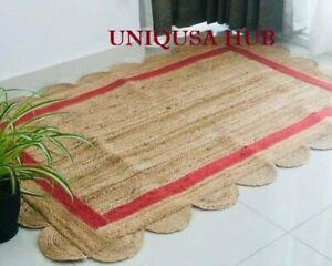 scallop rug 100% natural jute braided style carpet handmade area home decor rug