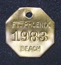 30mm Ft Fort Phoenix 1983 Beach Keychain Fob Vintage brass plaque tag