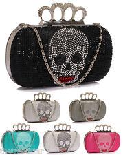Ladies Style Beaded Skull Design Clutch Women Knuckle Rings Evening Dimante Bag