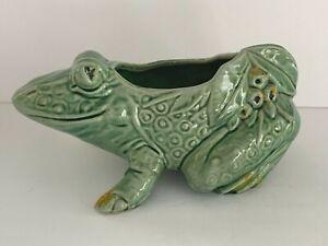 """VINTAGE Green Frog Planter McCoy USA 1950's Original 8.5"""""""