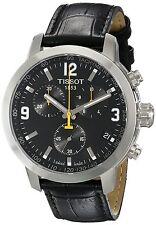 Tissot Men's T0554171605700 'PRC 200' Chronograph Black Leather Watch