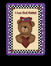 """PURPLE T SHIRT 4X RED HAT BEAR W/ HEART """"I LUV RED HATTIN"""" FOR LADIES OF SOCIETY"""