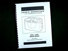 Cooks Essentials Model CEBR11 Bread Maker Machine Instruction Manual & Recipes