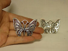 5 large butterfly charms pendants tibetan silver jewellery making wholesale UK