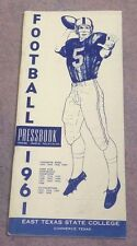 EAST TEXAS STATE UNIVERSITY - COLLEGE FOOTBALL MEDIA GUIDE - 1961
