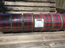"""KIRKLAND 2.5"""" WIRED  RED AND GREEN PLAID   CHRISTMAS RIBBON 50 YARD ROLLS"""