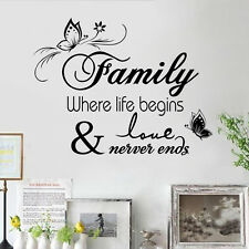 Family Life begins Love Never Ends Wall Quote Saying Sticker Vinyl Decals Mural