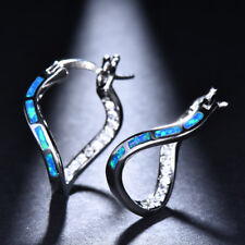 White Gold Twist Blue Fire OpalCZ Wave Dangle Hoop Earrings Wedding Jewelry Gift