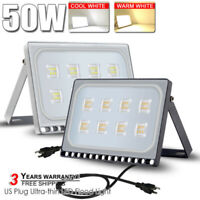 LED Flood Light 10W 50W US Plug Spotlight Garden Outdoor Wall Ceiling Lamp IP65
