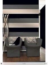 3 Colour Striped Textured DESIGNER Wallpaper Black Silver Cream E40909