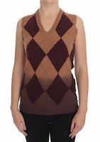 NWT $400 DOLCE & GABBANA Brown Wool Blend Sleeveless Vest Sweater Pullover s. S