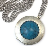 VINTAGE LOCKET NECKLACE PENDANT FAUX TURQUOISE CABOCHON SILVER TONE METAL CHAIN