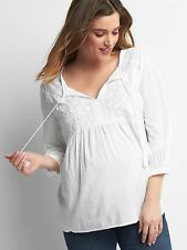 Gap Maternity embroidery three-quarter sleeve top,WHITE SIZE XS      #531895 v67