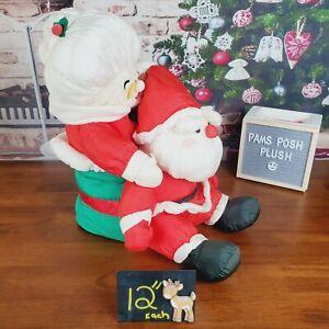 Mrs Claus & Santa Nylon Plush Christmas Chimney Glasses Puffalump Vintage Rare