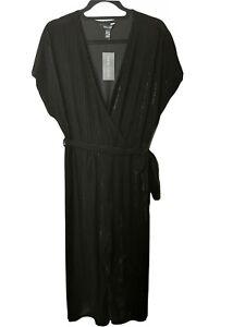 New Look Black Velvet Velour Jumpsuit Culotte Size 16 Stretch Plus Size