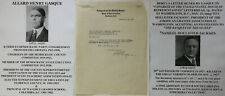 US CONGRESSMAN SC EDUCATOR ALLARD GASQUE LETTER SIGNED TO FLOOD GOVERNOR VT 1925