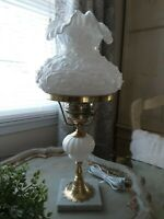 Fenton Poppy Milk Glass Gone With The Wind GWTW Hurricane Student Lamp