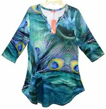 NEW Sz XL SIMPLY ASTER Stretchy Pullover Tunic 3/4 Sleeve Poly/Spandex Peacock
