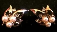Stunning Leaf Design Earrings w/ Faux Pearls & Rhinestones, Vintage Coro Jewelry