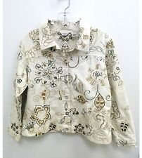 Laura Ashley Petite Womens Medium Jacket Cream Brown Embroidered Floral B4